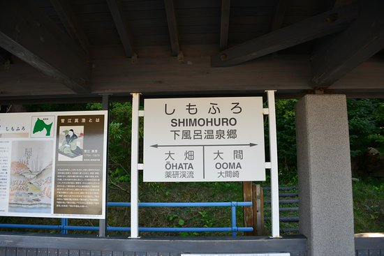 Kazamaura-mura, Japan: 駅名表示は想像のもの