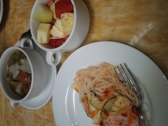 Golden Flower: noodle salad, soto bandung and fruit