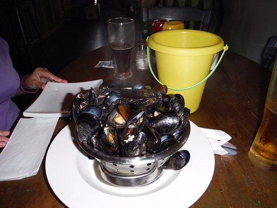 Victoria, Canada: mussels and bucket for shells