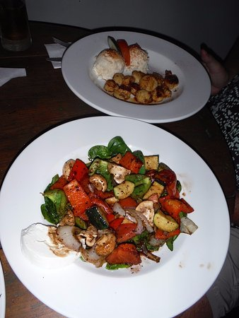 Victoria, Canada: grilled veggie salad and scallops