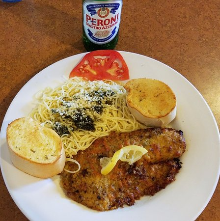 Howe, IN: Tilapia with Capellini, Garlic Bread, and a Peroni