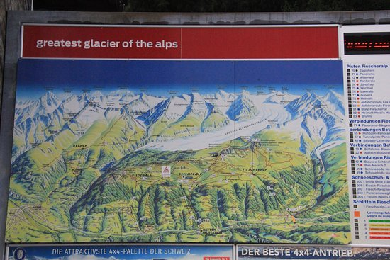 Aletsch Glacier: A large board stands outside of the Fiesch valley cable station depicting the available routes.