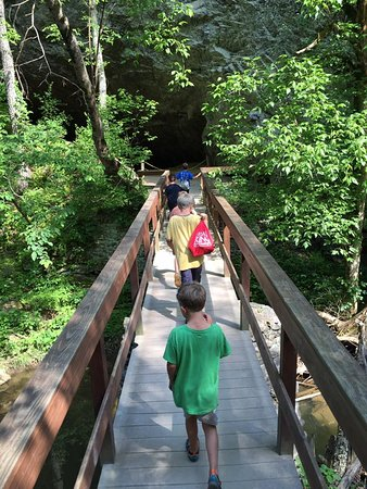 The Natural Bridge of Virginia: The hike to the waterfall wasn't too much for our six year olds.