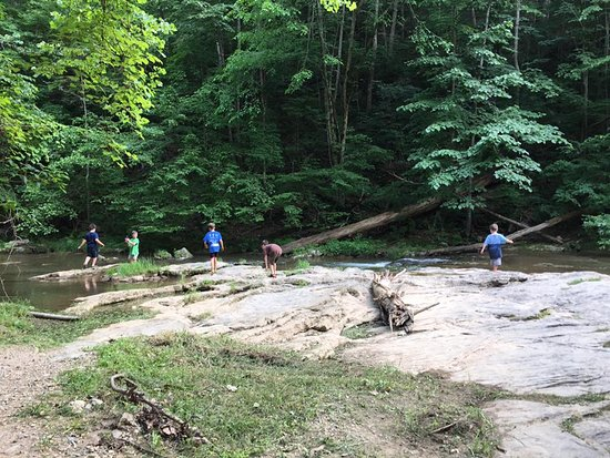 The Natural Bridge of Virginia: On our way back down from the waterfall, the boys wanted to dip their feet in the river.