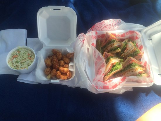 L'Anse, MI: Club sandwich, cheese curds and coleslaw
