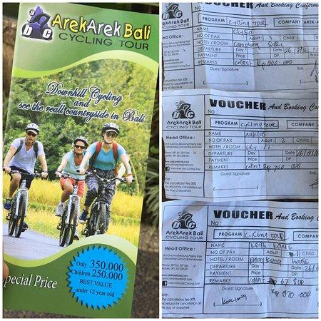 Arekarek Bali Cycling: 1 brochure, 3 different prices! 350,000; 400,000 & 870,000!