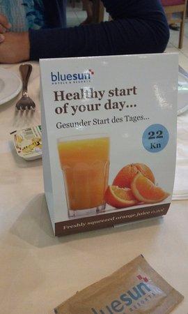 Bluesun Hotel Elaphusa: colazione inclusa ma la spremuta non è compresa