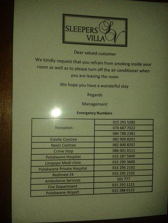 Πολοκβάνε, Νότια Αφρική: список телефонов