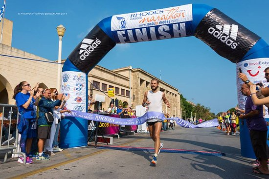 South Aegean, Greece: Rhodes-International Marathon - Finishing Line