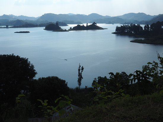 Abacus African Vacations Day Tours : View of Lake Mutanda from Chameleon Hill.
