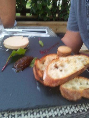 Yvelines, Frankrijk: foie gras (2 tranches) sur ardoise