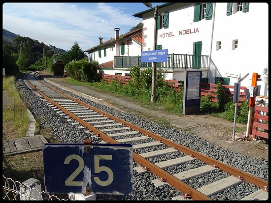 Bidarray, Франция: Arret TER de la ligne Saint Jean Pied de Port / Bayonne devant l'hotel.