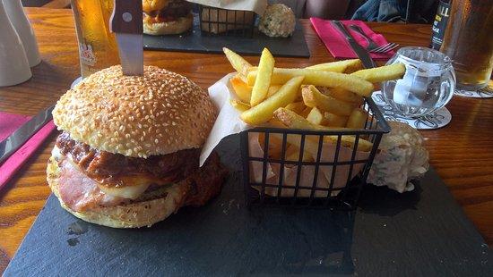 Market Drayton, UK: The Hogfather burger.