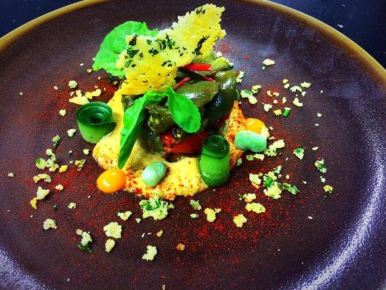 Harrow, UK: Homemade houmous roast peppers smoked paprika culi and Parmesan crumble