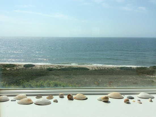Looking out the window at Tom Nevers beach