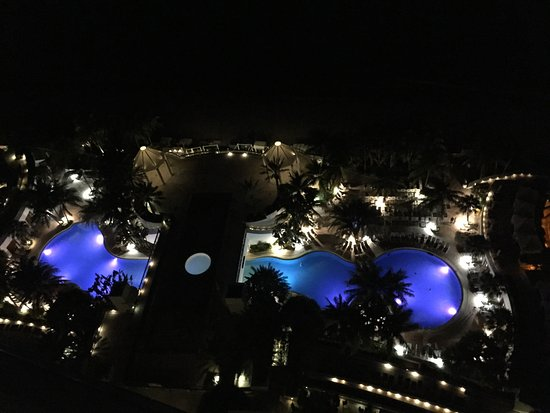 View at night when we checked-in, the upper pool now lights up too