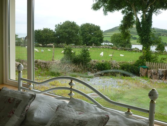Cloghane, Irlanda: Bett und Aussicht aus dem Fenster (2)