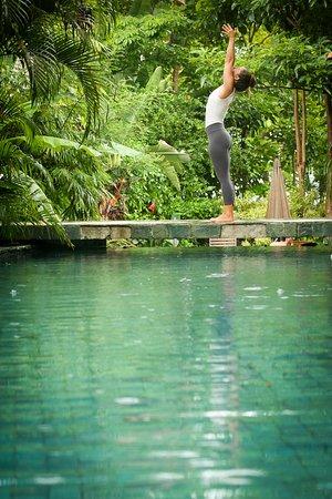 Pranamar Villas and Yoga Retreat: Poolside yoga