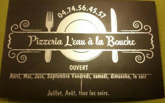 Pizzeria LEau A La Bouche Carte De Visite