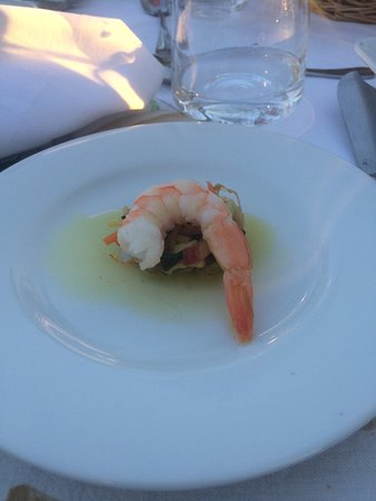 Seguret, Frankrike: Shrimp appetizer