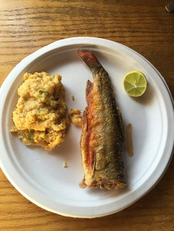 Centennial, WY: brook trout with cheese grits.. just about the best breakfast ever.