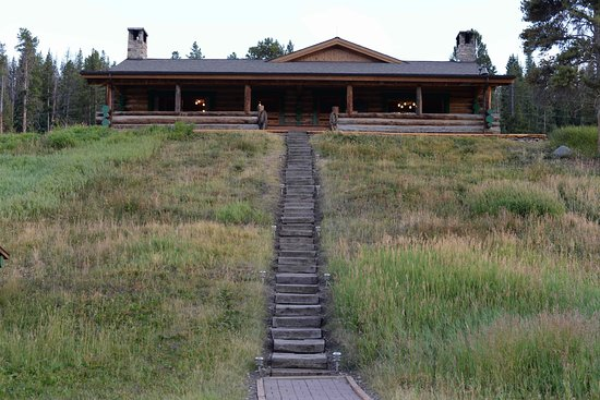Gallatin Gateway, MT: Main lodge stairs.