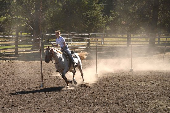 Gallatin Gateway, MT: Pole bending at horse games.