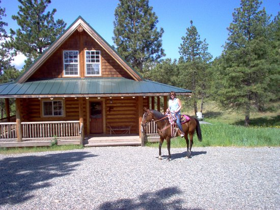 Cle Elum, WA: The very private modern log cabin with hot tub up on the hill away from ranch.