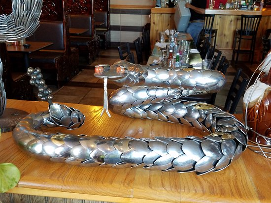 Fergus Falls, MN: Cool decorations: Snake made from spoons, where the spoons are scales on the snake.
