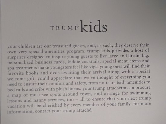 Trump International Hotel & Tower Chicago: Amenities - Trump kids club