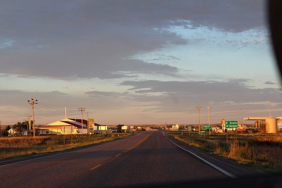 Pretty sunrise over little town of Interior, this was taken pulling out of the motel parking lot