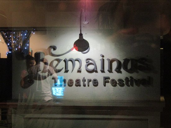 Chemainus Theatre Sign looking out from upstairs.