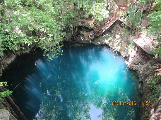 Abala, Mexico: Cenote Yaal Utzil from above