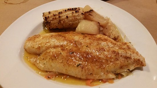 Voorhees, NJ: Baked cod over a bed of vegetables with corn and potatoes