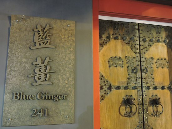Blue Ginger: The name plate and entrance door