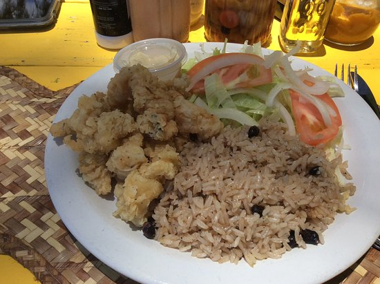 Middle Caicos: Cracked conch, peas and rice and small fresh salad.