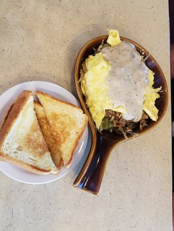 Hurricane, Virginia Occidental: My husband enjoyed the Sausage cheese scramble with Texas toast. Breakfast served all day!