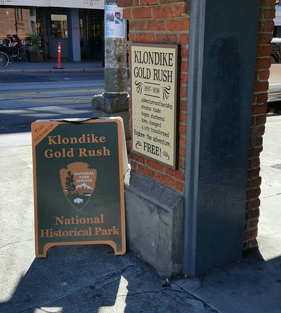 Klondike Gold Rush National Historical Park Photo op outside the m...
