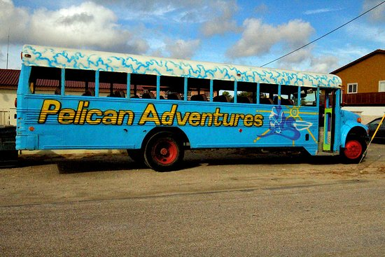 Pelican Adventures: The bus to pick up everyone from hotels.