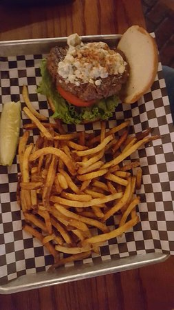 Galesburg, IL: Black and Blue Burger with French Fries