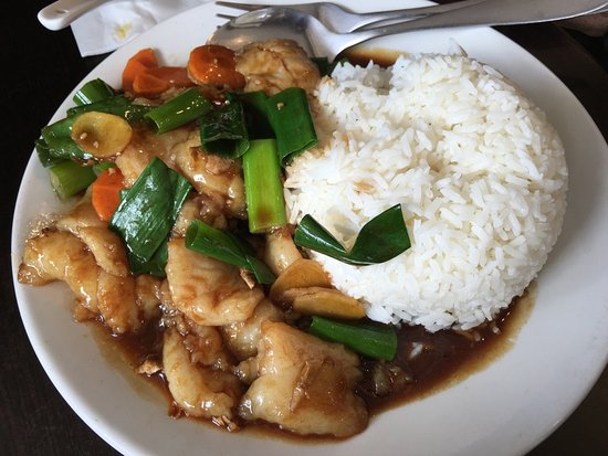 Doncaster East, Australia: Fish Fillet with Ginger/Spring Onion and Rice