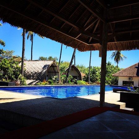 Gili Air, Indonesia: 프리다이빙 세계 챔피언 윌리엄 트루브릿지가 올리 트레이너와 트레이닝을 했다. 그에게 받은 싸인. 그리고 아름다운 풀, 프리다이빙 영상에 몇시간째 빠져있는 아마도 미래의 프리