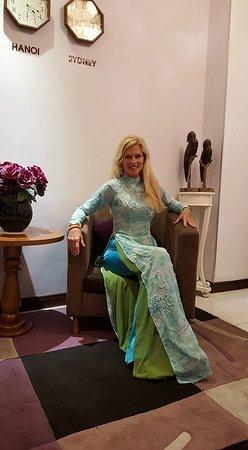 v back long dress vietnamese
