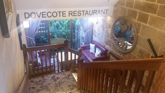 Internal stairs to the Dovecote Restaurant