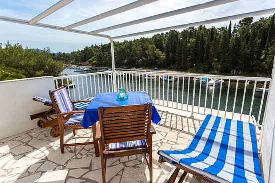 Korcula Waterfront Accommodation: Water views from waterfront apartment private terrace