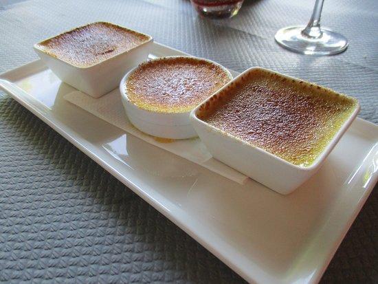 Vincennes, Frankrike: Trio de crèmes brûlées : bon, malgré les 38° à l'ombre ce soir là !