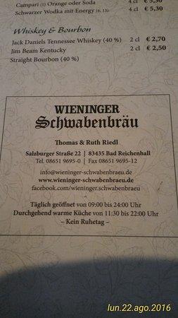 Wieninger Schwabenbräu: indirizzo completo