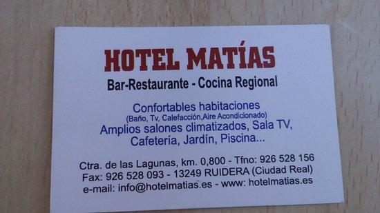Hotel Matias: tarjeta de visita