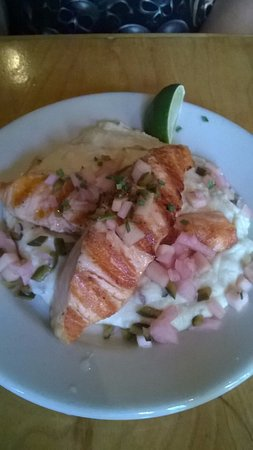 Prairie Moon: Ciderday salmon with mashed potatoes infused in horseradish (small plate)