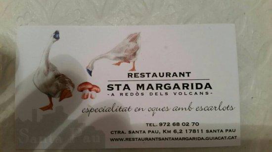 Santa Pau, Espagne : tarjeta del restaurante